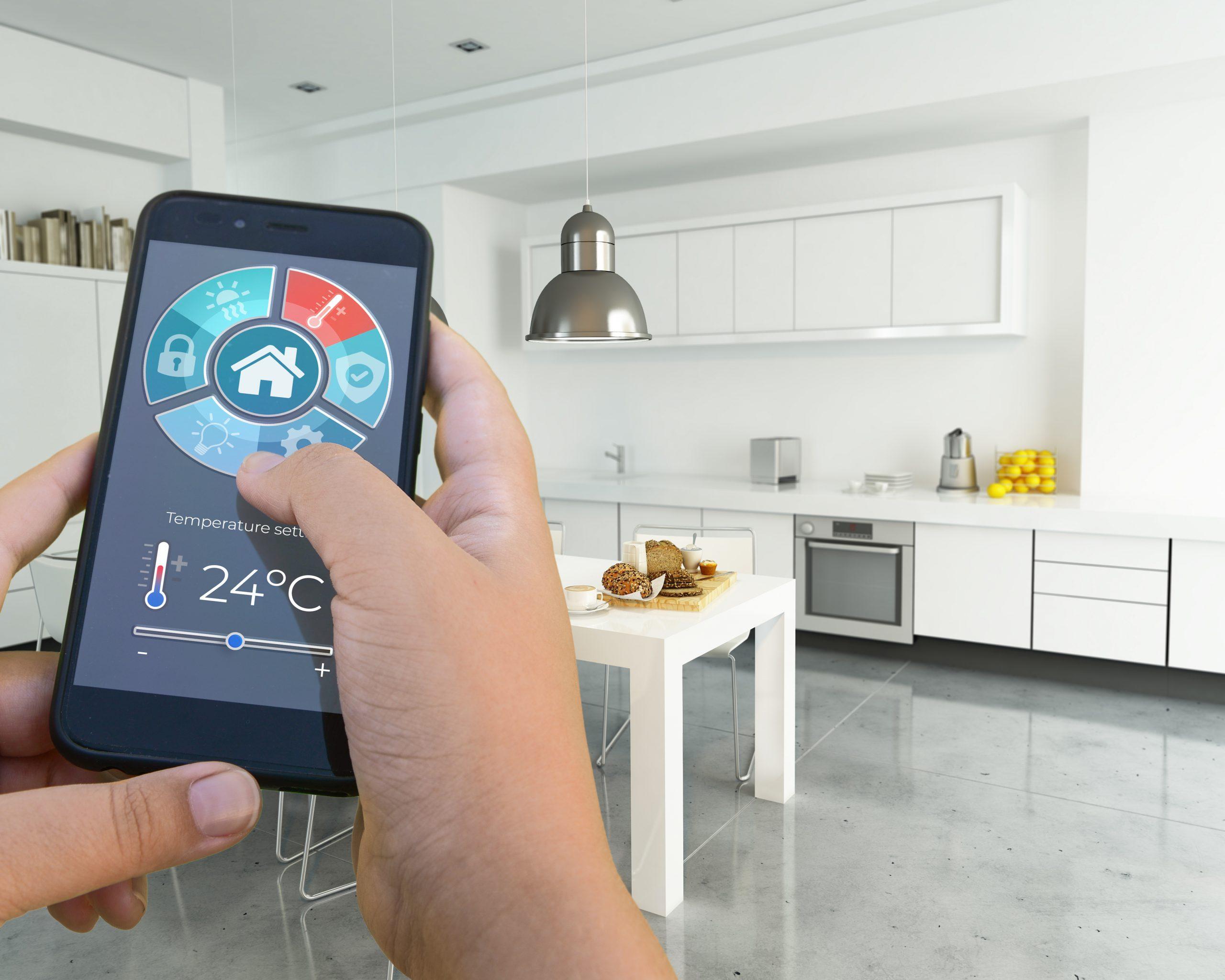 Home automation modern interior kitchen
